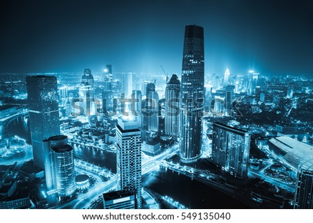 aerial view of tianjin cityscape at night, blue tone #549135040