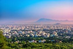 Aerial view of Tirupati city in South India, Andhra Pradesh, India.