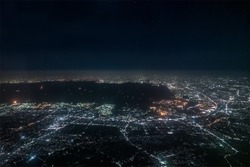Aerial view of Tokyo Bay around Chiba ditrict in the night.