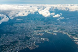Aerial view of Tokyo Bay around the Yokohama City in Kanagawa, Japan.