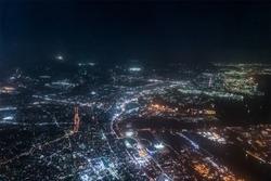 Aerial view of Tokyo Bay around Urayasu ditrict in the night.
