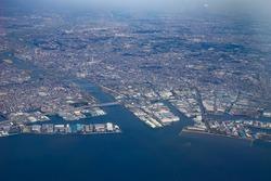 Aerial view of Tokyo Bay in Tokyo, Japan.