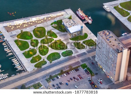 Aerial view of Toronto Waterfront from city rooftop, Canada stock photo