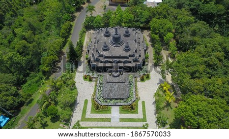 Aerial view of Traditional Buddhist temple Brahma Vihara Arama, Bali,Indonesia. Balinese Temple, Architecture, Ancient design. Travel concept Stok fotoğraf ©