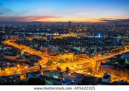 Free photos Interchange Highway traffic beautiful at Night, Bird Eye