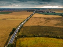 Aerial view of Traffic Jam on road caused by accident