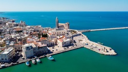 Aerial view of Trani in the southeastern region of Apulia in Italy - Cathedral of San Nicola Pellegrino on the coast of the Adriatic Sea