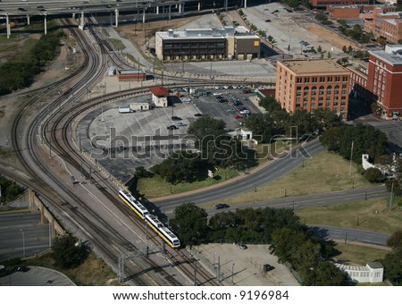 aerial view of Triple Underpass and Dealey Plaza Dallas Texas