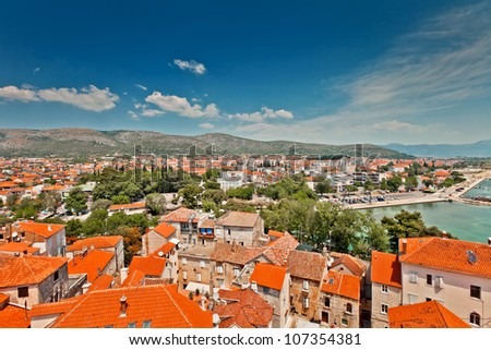 Aerial view of Trogir in Croatia