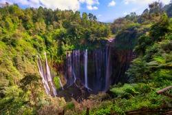 Aerial view of tropical rainforest Coban Sewu Waterfall in East Java Indonesia
