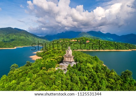 Aerial view of Truc Lam Bach Ma monastery in Truoi lake, Bach Ma mountain, Hue, Vietnam. - Shutterstock ID 1125531344