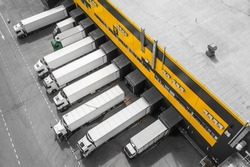 Aerial view of trucks loading in the distribution hub