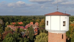 Aerial view of tsar tower in Spala, Poland