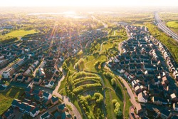 Aerial view of uk home newly built estate development masterplan landscape in England,