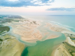 Aerial view of unique Ria Formosa at sunset in Fuseta, Algarve, Portugal