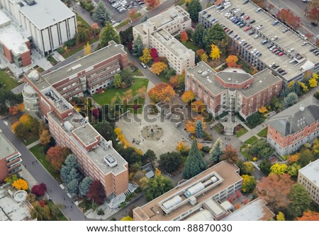 Aerial view of university center square