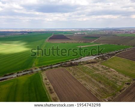 Aerial view of Upper Thracian Plain near town of Parvomay, Plovdiv Region,  Bulgaria Stock photo ©