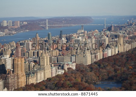 Aerial view of Upper West Side and George Washington Bridge