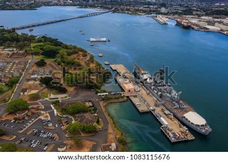 Aerial view of USS Missouri (BB-63) battleship and USS Arizona Memorial, World War II Valor In The Pacific National Monument in Pearl Harbor Honolulu Hawaii