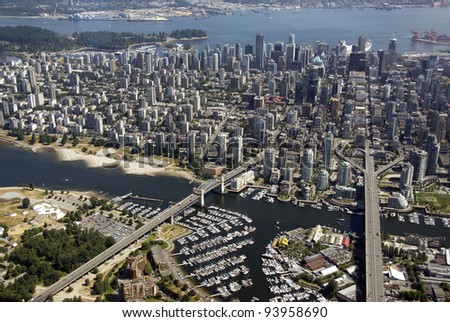 Aerial view of Vancouver with bridges and False Creek