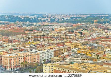 Aerial view of Vatican city, as seen from the top of the Vatican