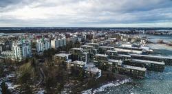 Aerial view of vattuniemi, on a sunny winter day, in Lauttasaari, Helsinki, Finland