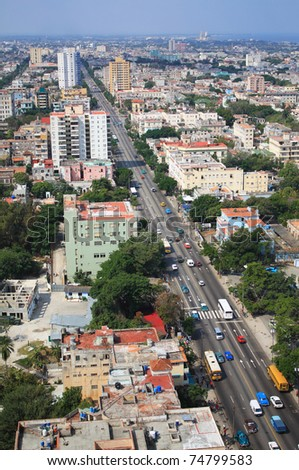 Aerial view of Vedado Quarter in Havana, Cuba.