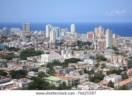 Aerial view of Vedado Quarter, modern part of the city, Havana, Cuba. Caribbean Sea in the background.