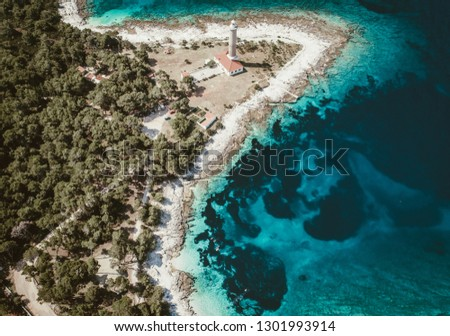 Aerial View of Veli Rat Lighthouse on island Dugi Otok in Dalmatia, Croatia.