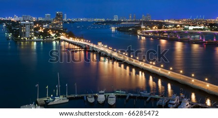 Aerial view of Venetian Causeway and Biscayne Bay in Miami Florida.