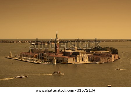 Aerial view of Venice city from the top of the bell tower at the San Marco Square
