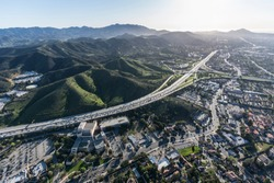 Aerial view of Ventura 101 freeway and suburban Thousand Oaks near Los Angeles, California.