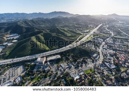 Aerial view of Ventura 101 freeway and suburban Thousand Oaks near Los Angeles, California. #1058006483