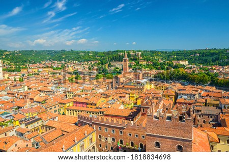 Aerial view of Verona city historical centre Citta Antica with red tiled roof buildings. Panoramic view of cityscape of Verona town. Blue sky background copy space. Veneto Region, Northern Italy Foto d'archivio ©