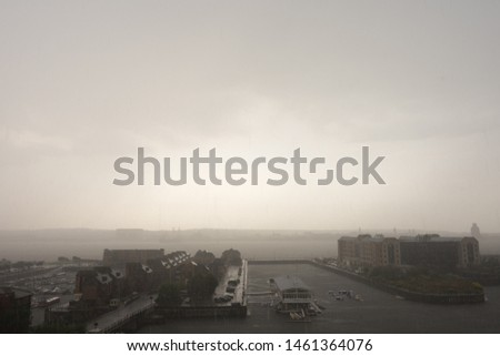 Aerial view of Very Moody Liverpool Watersports Centre in bad weather, near Albert Docks and Baltic Triangle and River Mersey in background #1461364076