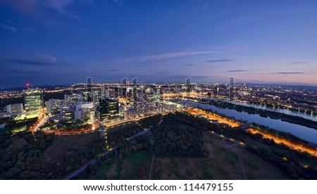 aerial view of Vienna cityscape, Austria. night scene