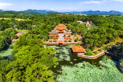 Aerial view of Vietnam ancient Tu Duc royal tomb and Gardens Of Tu Duc Emperor near Hue, Vietnam. A Unesco World Heritage Site