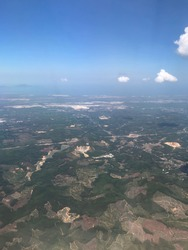 Aerial view of Vietnam mountain landscape from an airplane