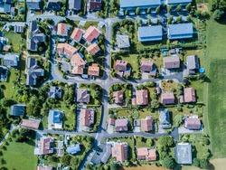 Aerial view of village in Switzerland