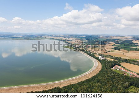 aerial view of village landscape near Otmuchow town in Poland