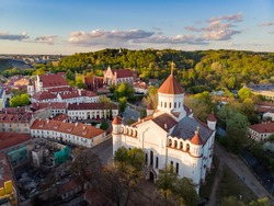 Aerial view of Vilnius Old Town, one of the largest surviving medieval old towns in Northern Europe. Summer landscape of UNESCO-inscribed Old Town of Vilnius, the heartland of the city.