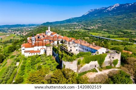 Aerial view of Vipavski Kriz town in the Littoral region of Slovenia Stok fotoğraf ©