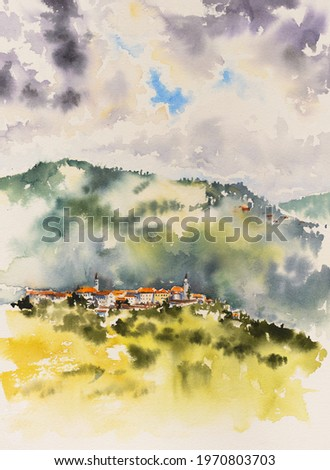 Aerial view of Vipavski Kriz town in the Littoral region of Slovenia. Picture created with watercolors. Stok fotoğraf ©