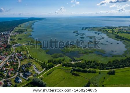 Aerial view of Vistula Split. Mierzeja Wislana Landscape Park. Photo made from above by drone.  #1458264896