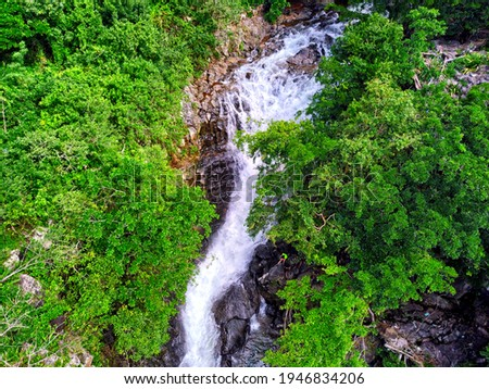 Aerial view of 'Vuillemin' waterfall located in Beau Bassin, Mauritius Photo stock ©