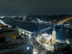 Aerial view of Vytautas the Great Church, located in Kaunas city old town , during winter night.