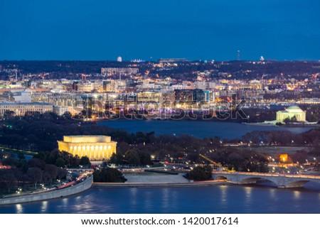 Washington Dc Skyline View With Lincoln Memorial Washington