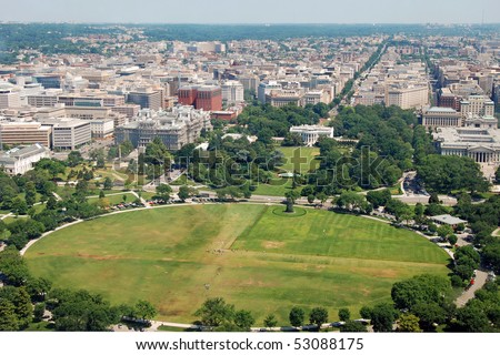 Aerial view of  Washington DC with The White house from Washington Monument