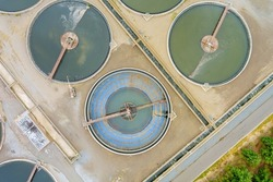 Aerial view of waste industrial water treatment plant solid sedimentation tank