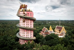 Aerial view of Wat Samphran Dragon Temple in the Sam Phran District in Nakhon Pathom province near Bangkok, Thailand.